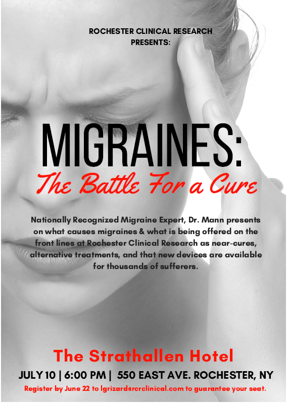 """Feature Image - """"Migraines: The Battle for a Cure"""" on July 10 at 6PM at the Strathallen Hotel"""